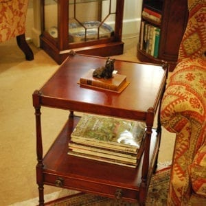 Lamp Table - 2 Tier with drawer & castors