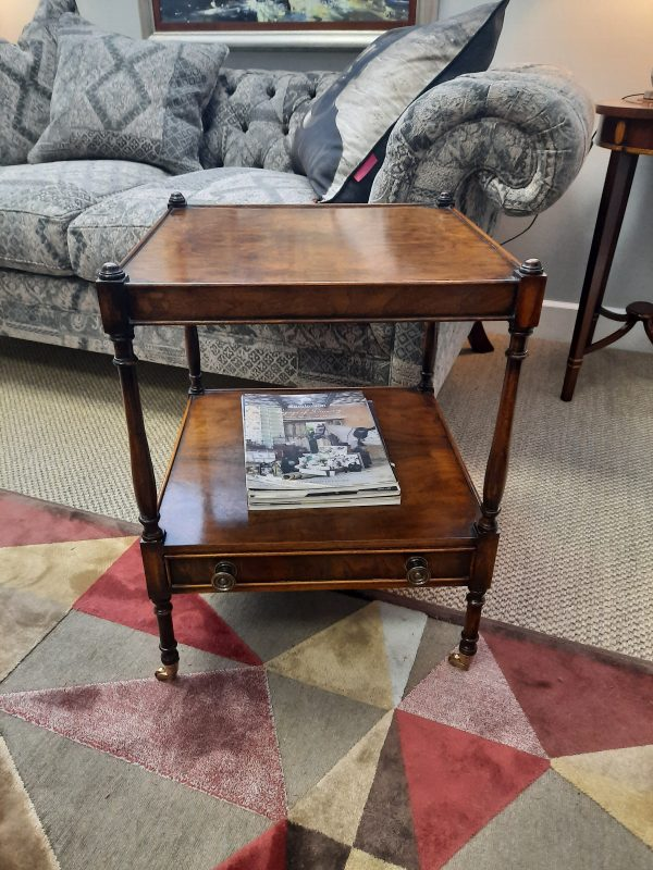 Two Tier Lamp Table with drawer and castors in Walnutclassic furniture antique