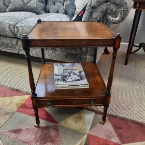 Two Tier Lamp Table with drawer and castors in Walnut classic furniture antique